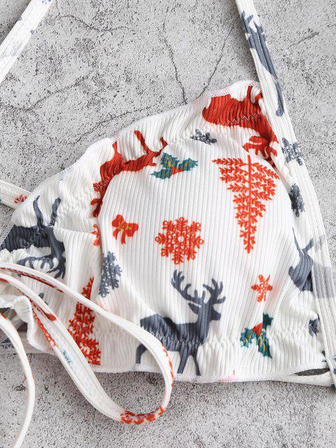 outfits ZAFUL Christmas Tree Snowflake Elk Print Padded String Bikini Set - WHITE M Mobile