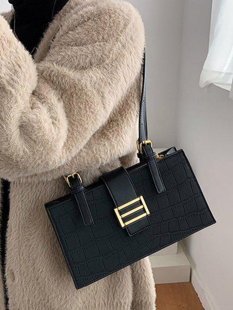lady Metal Embellished Rectangle Shoulder Bag - BLACK  Mobile