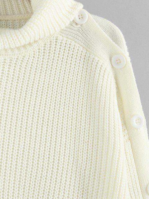 ladies ZAFUL Drop Shoulder Turtleneck Chunky Sweater - COOL WHITE M Mobile