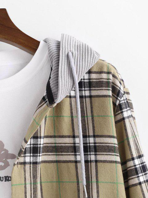 women's Plaid Corduroy Panel Button Up Hooded Shirt - LIGHT YELLOW 2XL Mobile