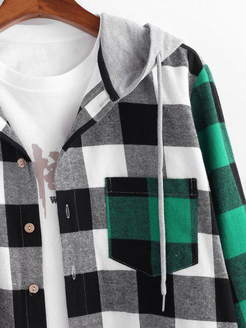 ladies Colorblock Plaid Pattern Pocket Patch Shirt - MULTI L Mobile