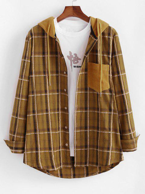 unique Plaid Corduroy Panel Hooded Shirt - YELLOW L Mobile