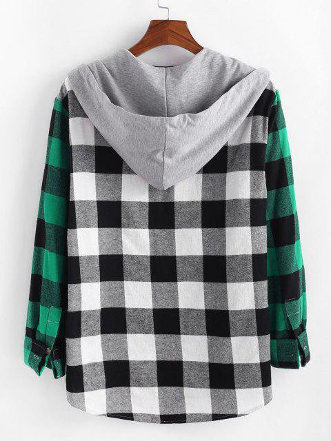 unique Colorblock Plaid Pattern Pocket Patch Shirt - MULTI XL Mobile