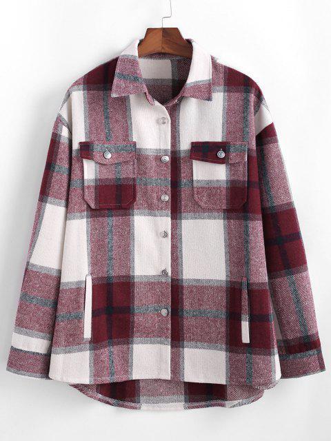 Veste Chemise Motif à Carreaux avec Poche à Rabat - Rouge L Mobile