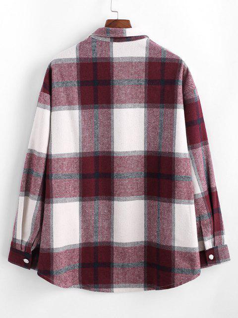lady Plaid Pattern Flap Pocket Shirt Jacket - RED M Mobile
