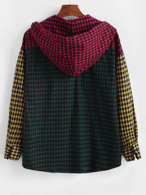 outfit Colorblock Plaid Patchwork Hooded Shirt - MULTI XL Mobile