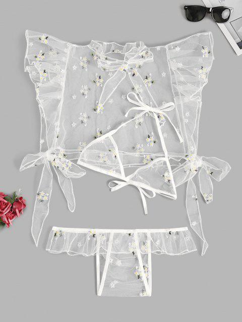 chic Floral Embroidered Ruffle Tie Mesh Lingerie Set - WHITE L Mobile