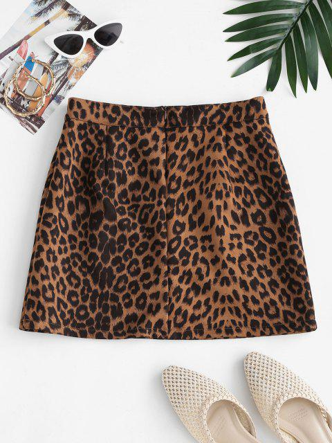 lady Leopard Print Faux Suede Mini Skirt - COFFEE M Mobile