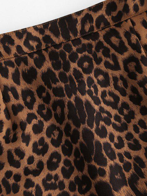 latest Leopard Print Faux Suede Mini Skirt - COFFEE S Mobile