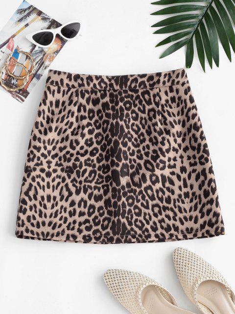 fashion Leopard Print Faux Suede Mini Skirt - MULTI L Mobile
