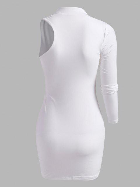 new Cut Out Asymmetrical Sleeve Slinky Dress - WHITE S Mobile