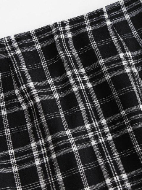 shop Slit Ruffled Hem Plaid Mini Skirt - BLACK L Mobile