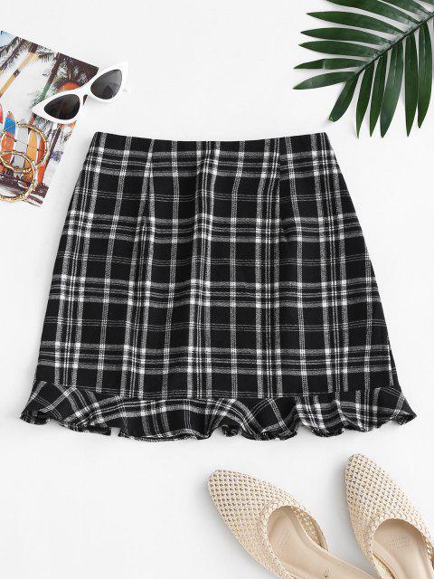 Slit Ruffled Hem Plaid Mini Skirt - أسود S Mobile
