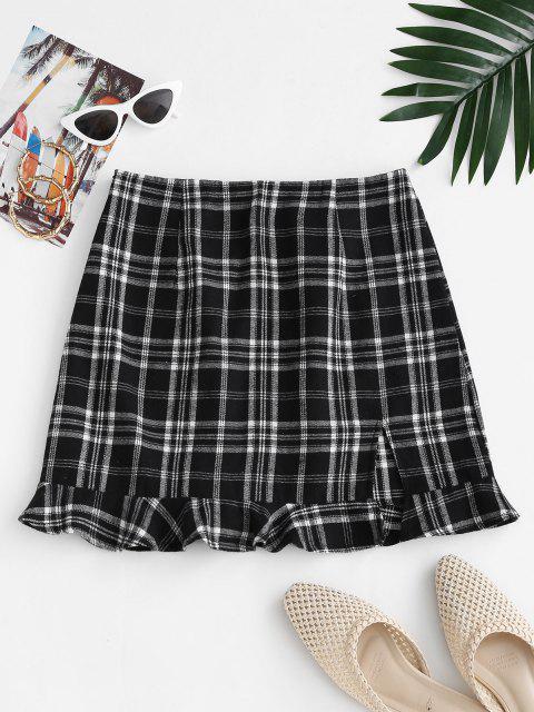 outfit Slit Ruffled Hem Plaid Mini Skirt - BLACK M Mobile