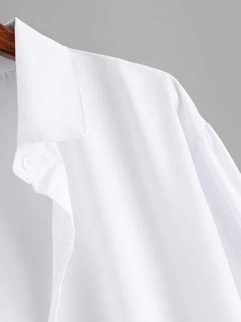 unique Button Up Drop Shoulder Plain Shirt - WHITE XL Mobile