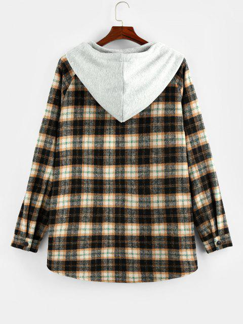 ZAFUL Hooded Plaid Print Double Pockets High Low Shirt - خشب S Mobile