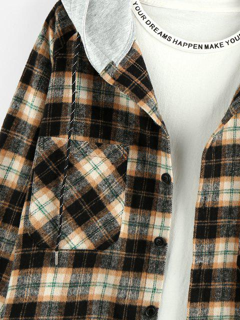 women ZAFUL Hooded Plaid Print Double Pockets High Low Shirt - WOOD L Mobile