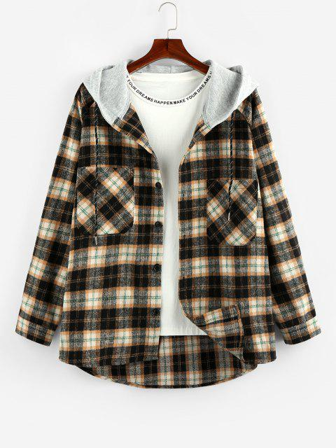 women's ZAFUL Hooded Plaid Print Double Pockets High Low Shirt - WOOD XL Mobile