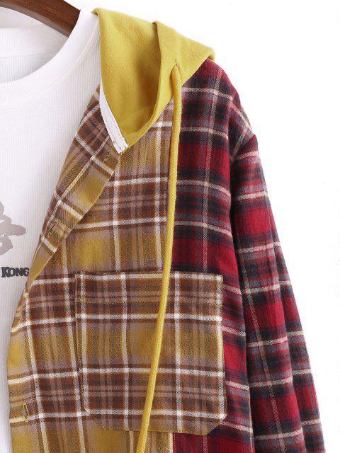 配色チェック柄パッチワークのフード付きシャツジャケット - ディープイエロー 2XL Mobile