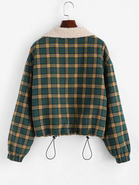 chic Zip Up Fleece Lined Plaid Houndstooth Jacket - MEDIUM SEA GREEN M Mobile