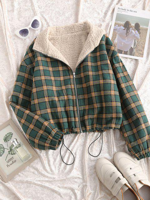 hot Zip Up Fleece Lined Plaid Houndstooth Jacket - MEDIUM SEA GREEN S Mobile