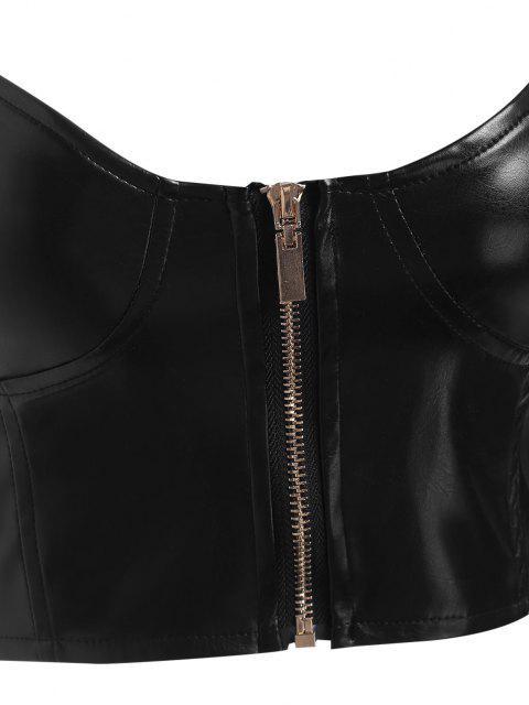 Haut Court Zippé en Faux Cuir - Noir M Mobile