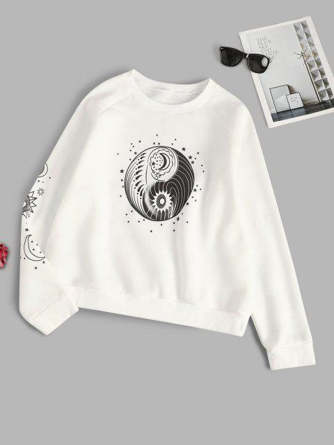 lady Star Sun and Moon Graphic Fleece Lined Sweatshirt - WHITE M Mobile