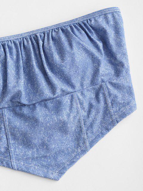 outfit ZAFUL Denim Print Lace-up Bandeau Bikini Top - LIGHT BLUE S Mobile