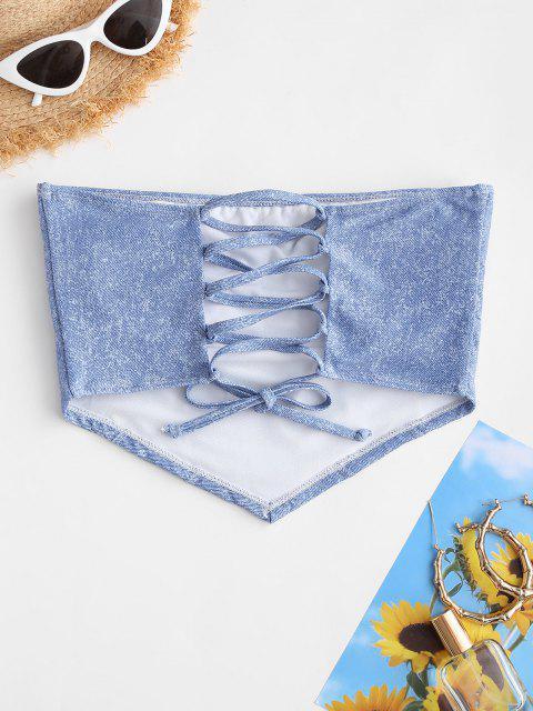 ZAFUL Haut de Bikini Bandeau Imprimé en Denim à Lacets - Bleu clair L Mobile
