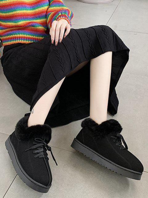 affordable Lace Up Fluffy Flat Snow Boots - BLACK EU 39 Mobile