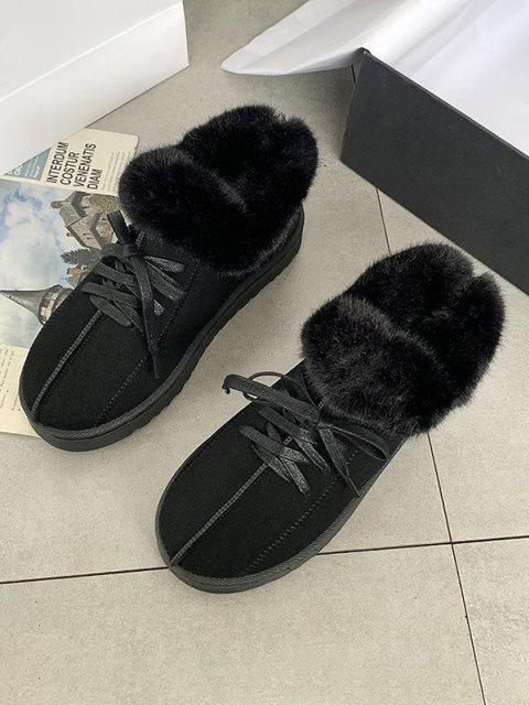 buy Lace Up Fluffy Flat Snow Boots - BLACK EU 40 Mobile