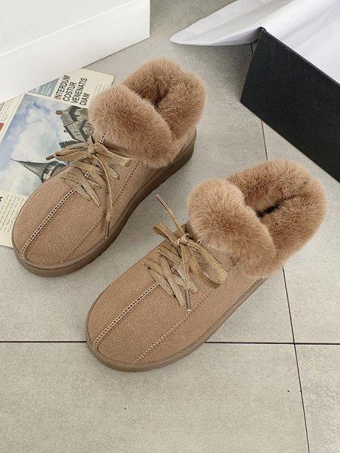 ladies Lace Up Fluffy Flat Snow Boots - BROWN EU 40 Mobile