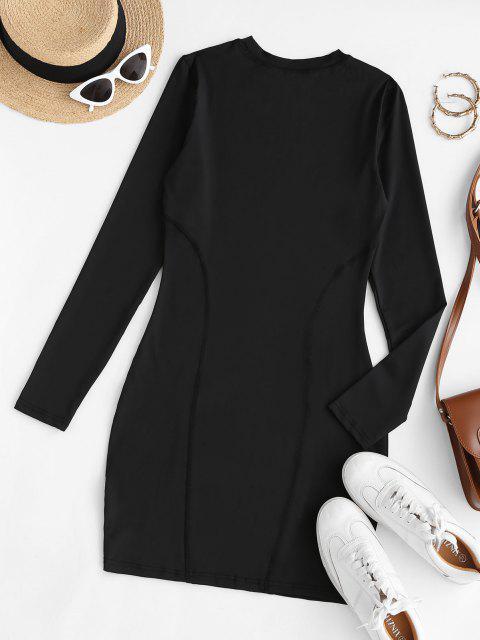 fashion Long Sleeve KL ALIEN Graphic Slinky Dress - BLACK S Mobile