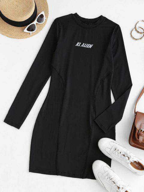 Robe Crayon Plissée Graphique Hauteur de Taille - Noir L Mobile