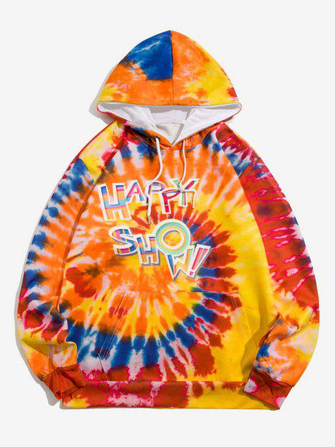 Krawatte Farbstoff Happy Show Muster Hoodie - Papaya Orange 2XL Mobile