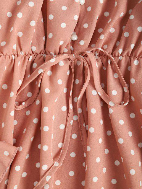 outfits Button Loop Poet Sleeve  Polka Dot Mini Dress - LIGHT PINK S Mobile