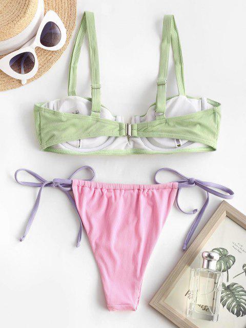 ZAFUL Costume da Bagno Bikini a Costine Incrociate a V a Coste Incrociate - Verde chiaro S Mobile