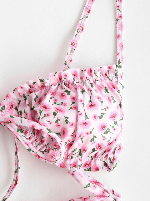trendy ZAFUL Ditsy Floral Frilled Tie Front String Bikini Swimwear - LIGHT PINK S Mobile
