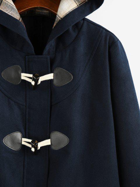 trendy ZAFUL Hooded Horn Button Zip Up Pocket Coat - DEEP BLUE M Mobile