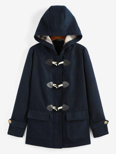 ZAFUL Hooded Horn Button Zip Up Pocket Coat - ازرق غامق M Mobile