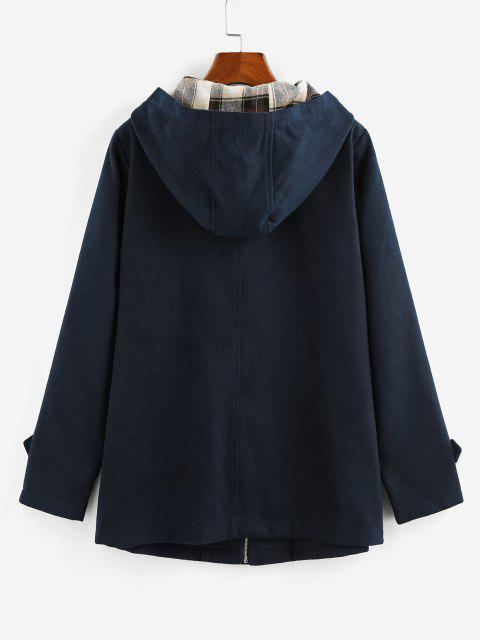 ZAFUL Manteau à Capuche Boutonné Corne Poche Zippé - Bleu profond S Mobile