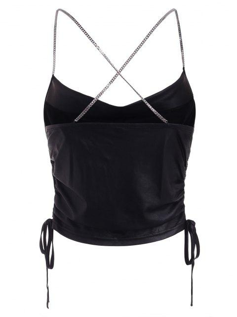 best Cinched Chain Criss Cross Cowl Front Crop Top - BLACK S Mobile