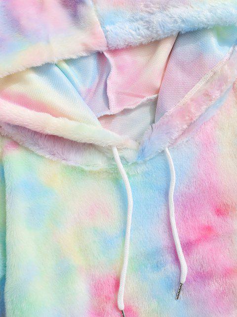 affordable Kangaroo Pocket Tie Dye Pattern Faux Fur Hoodie - LIGHT PINK 2XL Mobile