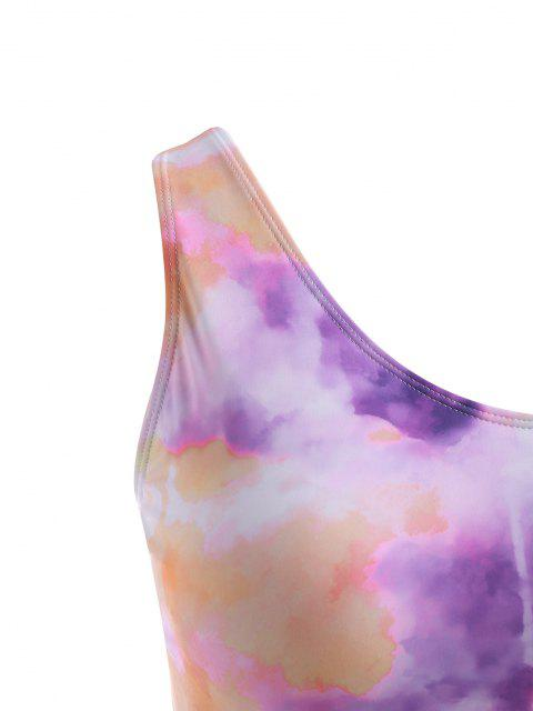 ZAFUL Haut de Bikini Court Bande Moulante Teintée de Grande Taille - Violet clair XXXL Mobile