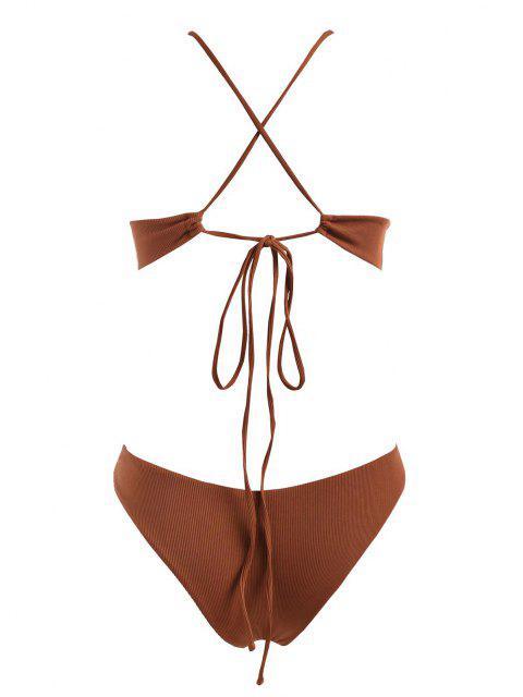 ZAFUL Übergröße Gerippte Bikini Badebekleidung mit Hohem Bein - Kaffee XL Mobile