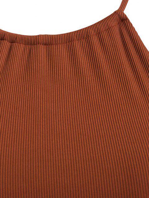 buy ZAFUL Plus Size Ribbed Crisscross Back High Leg Bikini Swimwear - COFFEE XXL Mobile