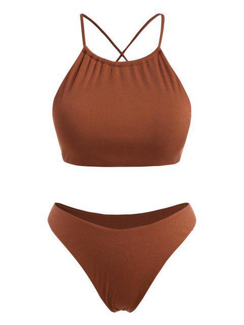 ZAFUL Plus Size Ribbed Crisscross Back High Leg Bikini Swimwear - قهوة XXL Mobile