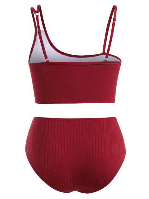 ZAFUL Übergröße Gerippte Tankini Badebekleidung mit Weitem Ausschnitt - Tiefrot XL Mobile