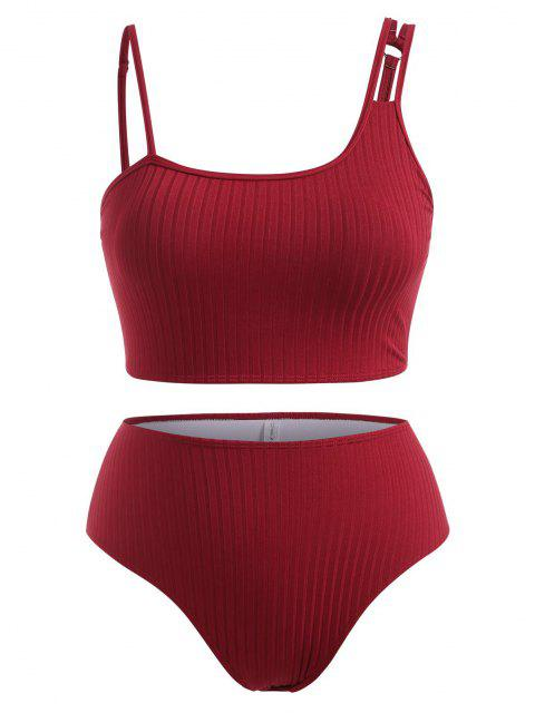 ladies ZAFUL Plus Size Wide Ribbed Asymmetrical Neck Tankini Swimwear - DEEP RED XXL Mobile