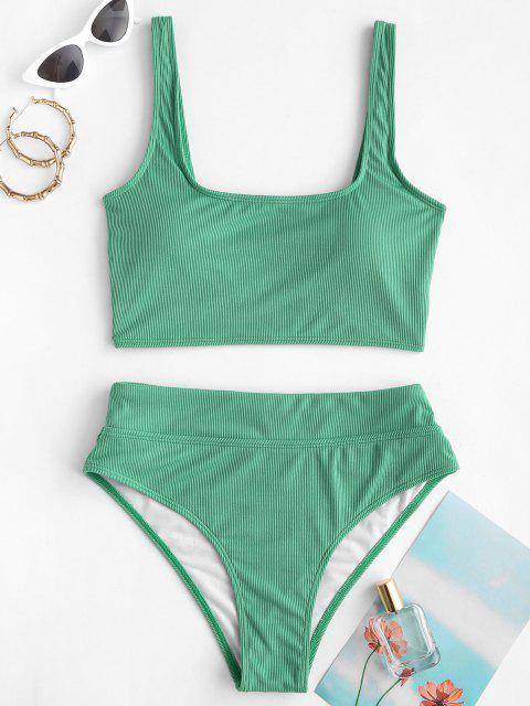 ZAFUL U Neck Ribbed Tankini Swimwear - اخضر فاتح M Mobile